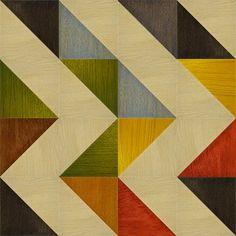 Gimmick Design, tafelblad bijzettafeltje. Grappig systeem met losse driehoeken, waardoor je patroon kunt variëren.