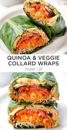 These healthy quinoa & veggie collard wraps are super easy to .- These healthy quinoa & veggie collard wraps are super easy to … – Fitness-Food & Recipes (healthy & vegan) – Healthy Fats, Healthy Snacks, Healthy Eating, Raw Food Recipes, Vegetarian Recipes, Healthy Recipes, Vegetarian Sandwiches, Veggie Sandwich, Lunch Recipes