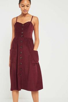 UO Emilia Red Corduroy Button-Down Midi Dress | Urban Outfitters | Women's #uoeurope #urbanoutfitterseu