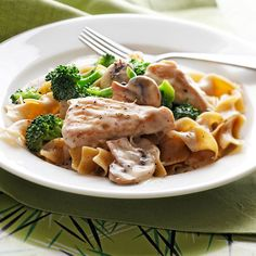 Make classic comfort food on a heart-healthy diet with this quick and easy turkey recipe featuring broccoli florets and whole wheat noodles topped with tangy light sour cream: http://www.bhg.com/recipes/quick-easy/dinners-30-minutes-less/30-minute-heart-healthy-dinner-recipes/?socsrc=bhgpin052914turkeystroganoff&page=20