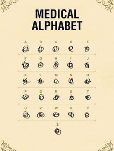 Medical Alphabet. This is exactly what all of the doctor prescriptions look like at the pharmacy haha
