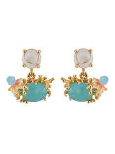 b0f28832a Dazzling Discretion Stone and flower and laced corals on faceted glass  earrings