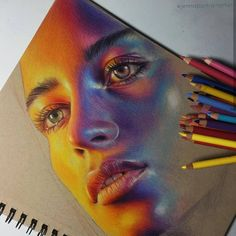 Colorful Portrait Drawings - Lucy Francis 🌞 Illustrating images using only. - Colorful Portrait Drawings – Lucy Francis 🌞 Illustrating images using only pad are only for - Realistic Drawings, Art Drawings Sketches, Colorful Drawings, Colourful Art, Horse Drawings, Colorful Artwork, Animal Drawings, Cool Artwork, Portrait Au Crayon