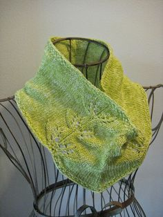 Twin Leaf Cowl: knit with just under 150 yards of sport weight yarn and size 4 needles