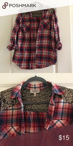 Button down plaid shirt with sequins Sequins on shoulders and upper back Express Tops Button Down Shirts