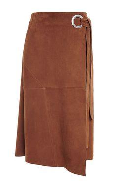 Self tie tan suede wrap skirt by TIBI Now Available on Moda Operandi