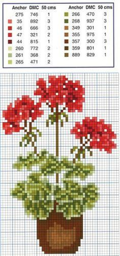 Geranium cross stitch