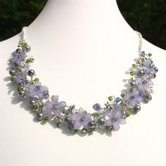Tanzanite Crystal and Lucite Flower Wire by FiveLittleGems on Etsy