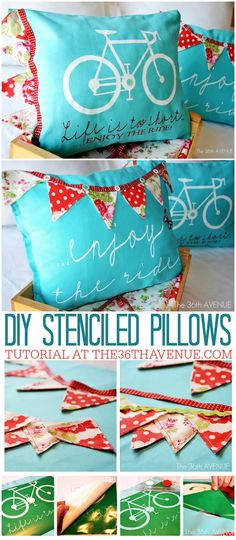 DIY Pillows and Creative Pillow Projects - DIY Stenciled Pillows - Decorative Cases and Covers, Throw Pillows, Cute and Easy Tutorials for Making Crafty Home Decor - Sewing Tutorials and No Sew Ideas Stencil Fabric, Stencil Diy, Vinyl Fabric, Stencils, Stenciled Pillows, Diy Pillows, Throw Pillows, Diy Projects To Try, Craft Projects