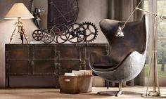 Industrial influence in the home décor. Love the sprockets and gears added to the design.