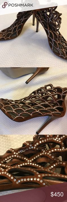 Sergio Rossi Mermaid pumps Brown suede w/crystals. Good worn condition. Beautiful shoes.  Size 38 (8) Sergio Rossi Shoes Heels