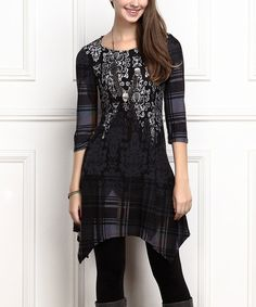 Look what I found on #zulily! Navy Damask Plaid Sidetail Tunic - Plus Too #zulilyfinds