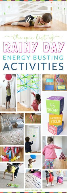Rainy Day Activities For Kids | Active indoor games and gross motor activities to keep your kids moving for when you can't get outside - perfect for toddlers, preschoolers and older children - boys and girls. For the full list go to whatmomslove.com