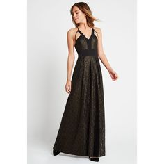 BCBGeneration Geo Foil Maxi Dress ($138) ❤ liked on Polyvore featuring dresses, gowns, black, cut out maxi dress, plunging v neck dress, v neck maxi dress, plunge maxi dress and maxi dresses