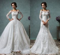 Amelia Sposa 2016 Vintage Lace Wedding Dresses With Detachable Skirt Stunning Cap Sheer Bateau Neckline Long Sleeve Tulle A Line Bridal Gown Wedding Shop White Wedding Dresses From Olesa, $160.81| Dhgate.Com