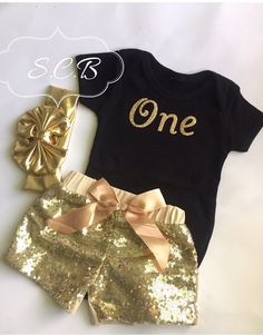 3Pc SET First birthday outfit set / Black and Gold  sequin shorts Birthday Set / outfit/ photo prop/ smash cake / wedding / dress/ girls by SimplyCraftsBoutique on Etsy https://www.etsy.com/listing/247698237/3pc-set-first-birthday-outfit-set-black