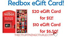 WOW! SAVE MONEY ON MOVIE NIGHTS! Get 40% off Redbox eGift Cards! Pay only $12 for a $20 card or $6.50 for a $10 card!  Click the link below to get all of the details ► http://www.thecouponingcouple.com/redbox-egift-card/ #Coupons #Couponing #CouponCommunity  Visit us at http://www.thecouponingcouple.com for more great posts!