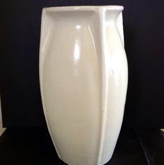 McCoy Pottery Floor Vase Matte White 14 1 4 Art Deco Rare Form Exc 600 value Vintage Planters, Vintage Vases, Vintage Pottery, Vintage Pins, Mccoy Pottery Vases, Pottery Art, Earthenware, Stoneware, Shawnee
