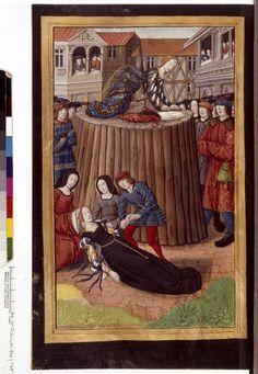 That dress! Dido suicide. Les Epistres d'OVIDE, c. 16th century, Français 874, f.47v, Bibliothèque nationale de France.