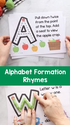 Teach children how to write letters with these alphabet formation rhymes. Each l… Teach children how to write letters with these alphabet formation rhymes. Each letter has a clever rhyme to help children learn to write. Preschool Writing, Preschool Letters, Learning Letters, Preschool Classroom, In Kindergarten, Alphabet Games For Kindergarten, Children Writing, Preschool Journals, Preschool Rooms