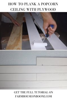 Learn how to plank a popcorn ceiling with plywood an easy way to cover up a popcorn ceiling! Learn how to plank a popcorn ceiling with plywood an easy way to cover up a popcorn ceiling! Plywood Ceiling, Wood Plank Ceiling, Shiplap Ceiling, Wood Ceilings, Ceiling Decor, Ceiling Design, Bedroom Ceiling, Ceiling Panels, Wood On Ceiling Ideas
