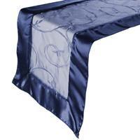 RNOZEMNV Navy Blue Embroidered Table Runner