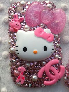 Swarovski crystal blinged out Hello Kitty case by CustomCutesies, $45.00 minus the other animals
