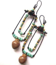 RESERVED RESERVED Bohemian Rustic Earrings, Unusual Hoops & Multicolored Beads Earrings, Earthy Boho Jewelry