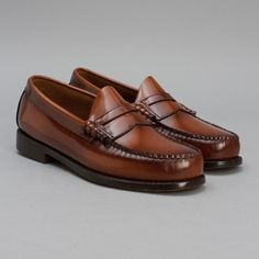 cf19fa26249 Bass Weejun  Larson Shoe in Cognac. Ivy League StylePenny LoafersLoafers MenMoccasins  ...