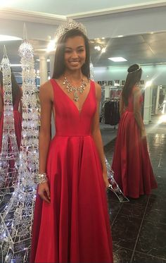 Simple A line Prom Gown ,V-neck Graduation Dress,Red #prom #promdress #dress #eveningdress #evening #fashion #love #shopping #art #dress #women #mermaid #SEXY #SexyGirl #PromDresses