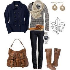 Winter jacket, fall fashions, fall clothes, bag, fall outfits, brown boots, fall styles, coat, stripe