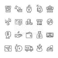 Banking And Finance Thin Line Icon Set Illustration , Free Vector Art, Free Vector Images, Vector Icons, Shop Icon, Icon Set, Law Icon, Doodles, Business And Economics, Sketch Notes
