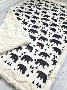 Bear Baby Blanket  Geometric Bear Designer by TheDesignerMinkyCo