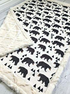 Minky Bear Baby Blanket Geometric Designer by TheDesignerMinkyCo