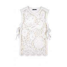 TIBI Mateo Crochet Apron Top featuring polyvore, fashion, clothing, tops, tibi top, floral print tops, floral top, tibi and white crochet top