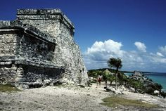 The remains of the city of Tulum, south of Playa del Carmen on Mexico's Riviera Maya.