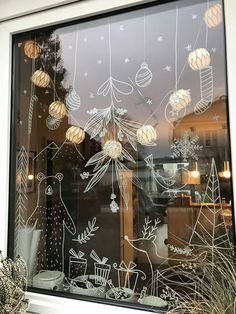 Scandinavian Modern Dala Horse Ornaments - weihnachten,Scandinavian Modern Dala Horse Ornaments chalk marker on glass Chalk Marker, Chalk Pens, Christmas Window Display, Christmas Window Decorations, Christmas Windows, Noel Christmas, Christmas Crafts, Christmas Ideas, Xmas