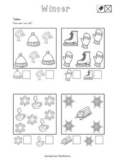 Tellen. Hoeveel van elk? [jufshanna.nl] Winter Activities For Toddlers, Winter Crafts For Kids, Winter Kids, Winter Art Projects, Winter Project, Preschool Worksheets, Preschool Activities, Seasons Lessons, Christmas Worksheets