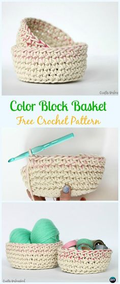 Crochet Color Block Storage Basket Free Pattern - Crochet Storage Basket Free Patterns