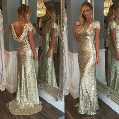 Champagne Gold Sequins Long Bridesmaid Dresses 2018 Sparkly High Neck Short Sleeve Backless Wedding Party Gowns Maid of Honor Dresses Junior Champagne Sequin Bridesmaid Dresses, Unique Bridesmaid Dresses, Designer Bridesmaid Dresses, Unique Dresses, Bridal Dresses, Vintage Dresses, Girls Dresses, Flower Girl Dresses, Cathedral Wedding Dress