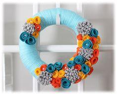 Spring Summer Yarn Wreath Teal Aqua Orange by TheLandofCraft, $34.75