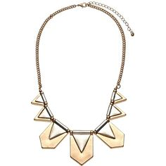 John Lewis Aztec Fan Necklace, Gold ($29) ❤ liked on Polyvore featuring jewelry, necklaces, aztec necklace, yellow gold jewelry, triangle necklaces, aztec gold necklace and 2 tone necklace