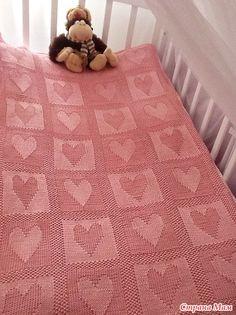 "Children's Plaid ""Heart"" knit blanket"