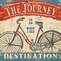 Afgebeelde fiets met tekst in het Engels: Life is a Beautiful Ride II Kunstdruk