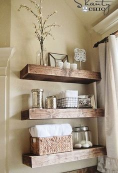 Wonderful Useful Tips: Floating Shelves Bathroom Pantries floating shelves around tv tv frames.Floating Shelves Over Bed Storage floating shelf decor stairs.How To Build Floating Shelves Shelf Brackets. Diy Bathroom, Shelves, Interior, Diy Furniture, Bathroom Shelf Decor, Rustic Bathroom Shelves, Home Diy, Bathrooms Remodel, Bathroom Decor