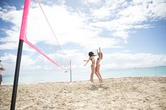 Girls Gone Swimming - Lily Aldridge and Behati Prinsloo having a great time during their volleyball match at Palomino Island  during the @victoriassecret Swim Special which filmed in Puerto Rico.