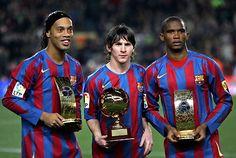 Ronaldinho, Lionel Messi y Samuel Etto