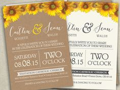 Maroon Yellow Sunflower Wedding Invitations Invites RSVP cards Country by SAEdesignstudio