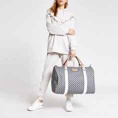 Shop our new Dark grey RI monogram large duffel bag at River Island today. Faux Leather Fabric, Duffel Bag, Dark Grey, Latest Fashion, Purses And Bags, Monogram, River Island, Shopping, Collection