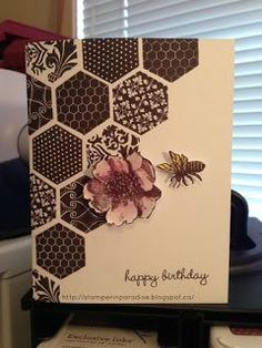 handmade birthdaay card ... stamped hexagons fill a diagonal half ... luv the fill designs on these hexagons from Close to My Heart stamps ... dark chocolate ink on kraft ... little stamped bee ... sweet card in masculine colors and design ...